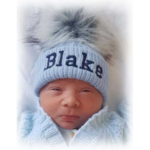 personalised baby hat fur pom baby boy