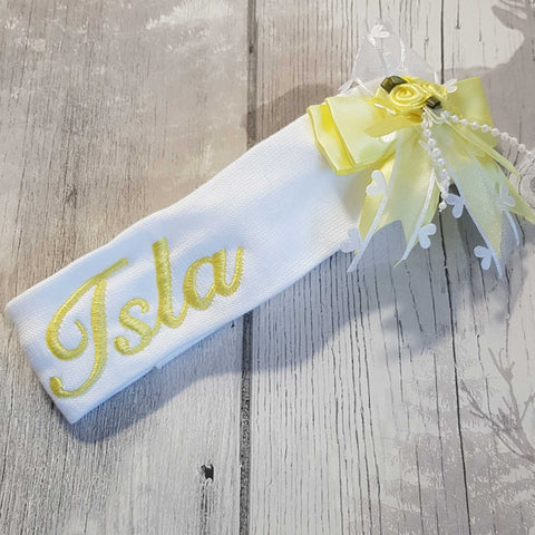 personalised baby girl headband with yellow bow