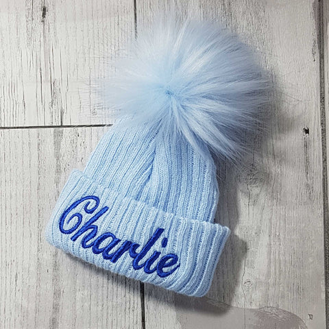 Personalised Baby Hat- Pastel Blue with blue fur pom