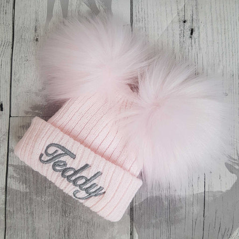 personalised pink baby hat