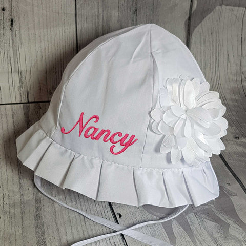baby girl sun hat personalised