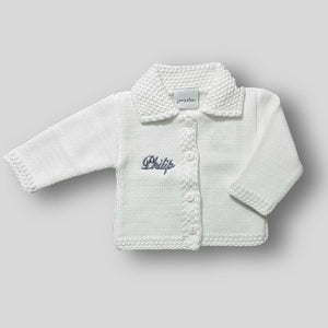 Personalised Baby Cardigan - White - Unisex