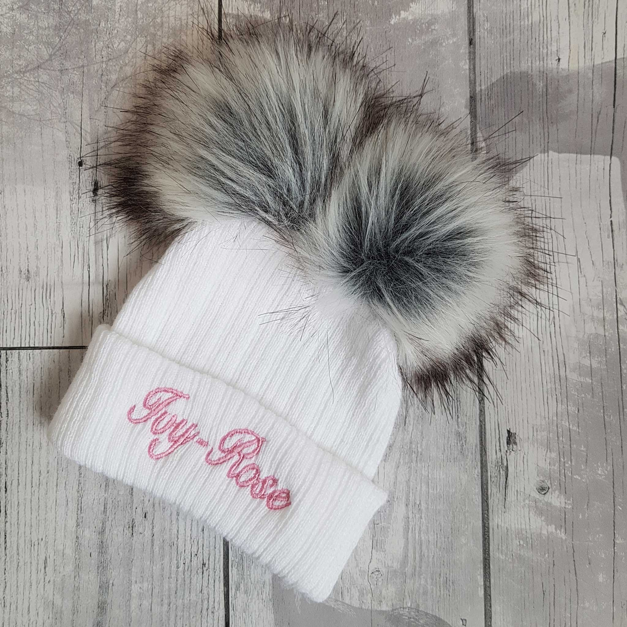 personalised double pom white baby hat
