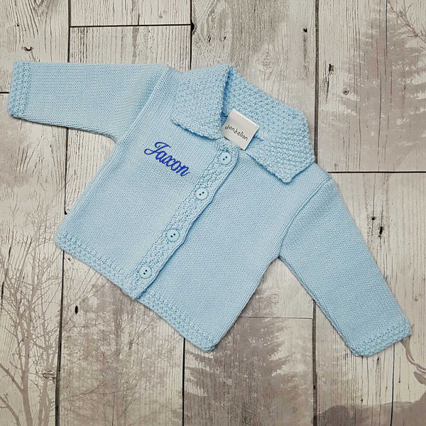 personalised baby clothes cardigan blue