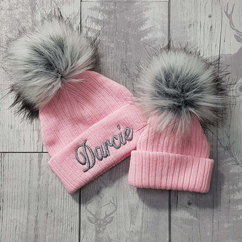 baby girl fur pom hat pink personalised with name
