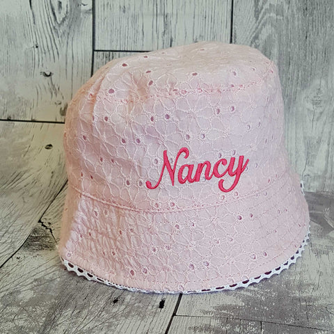 Personalised Baby Girl  Sun Hat - Pink