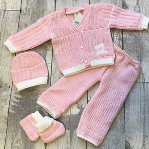 Knitted Outfit  Baby Girl Pink Top, Trousers, Booties and Hat