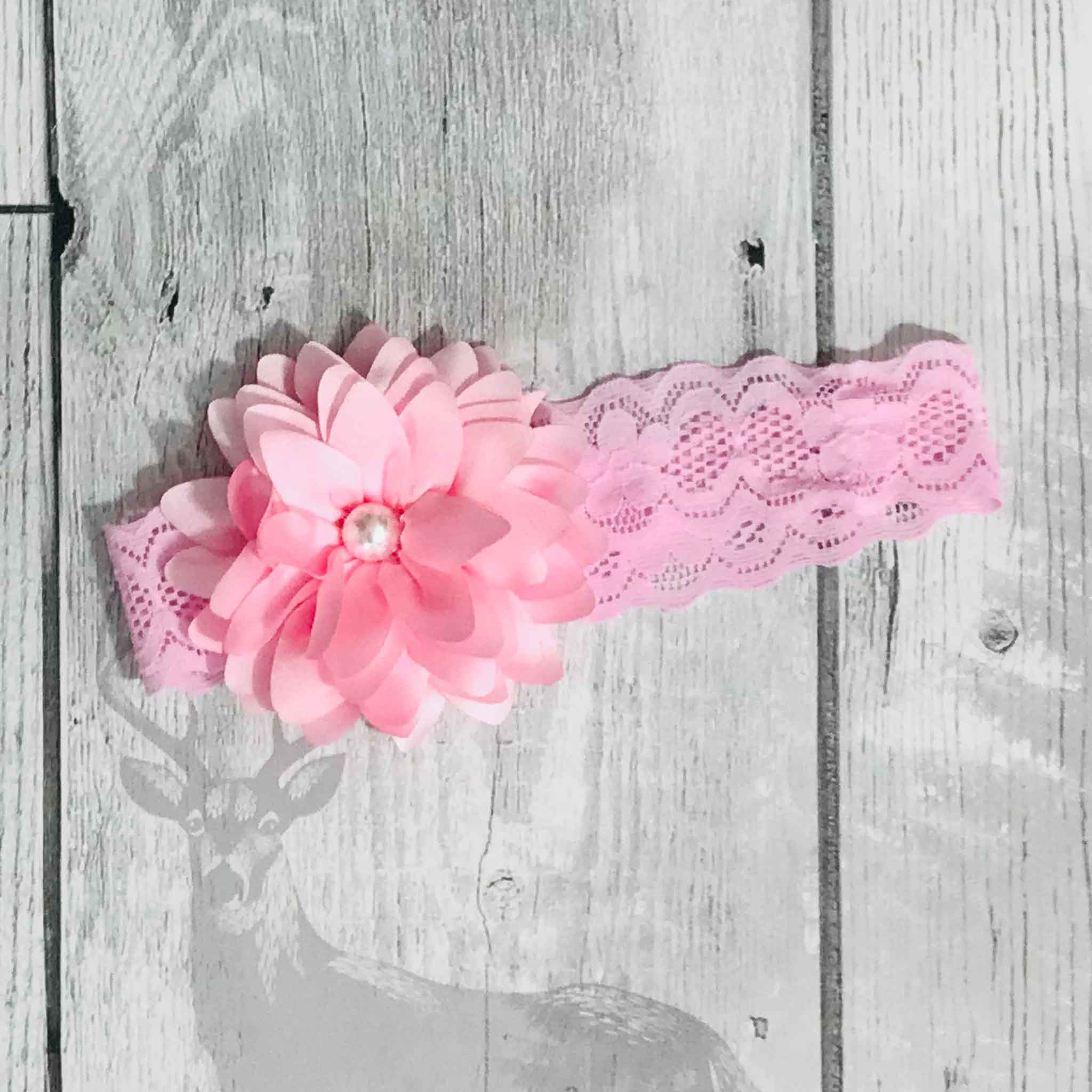 baby headband pink with flower