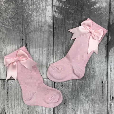 Baby girl socks with bows Pink