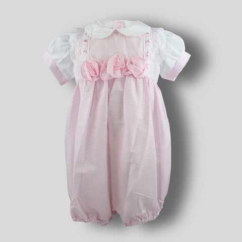 baby girl romper with pink stripes and lace