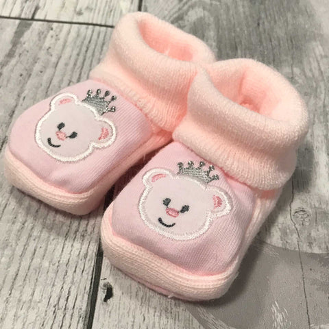 Pink Booties - with embroidered bear - Newborn to 6 months