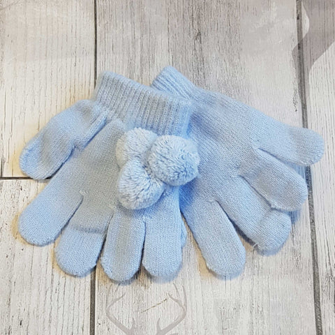 Baby Toddler  Gloves with pom poms - Blue