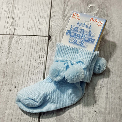 baby boy ankle socks blue with pom poms