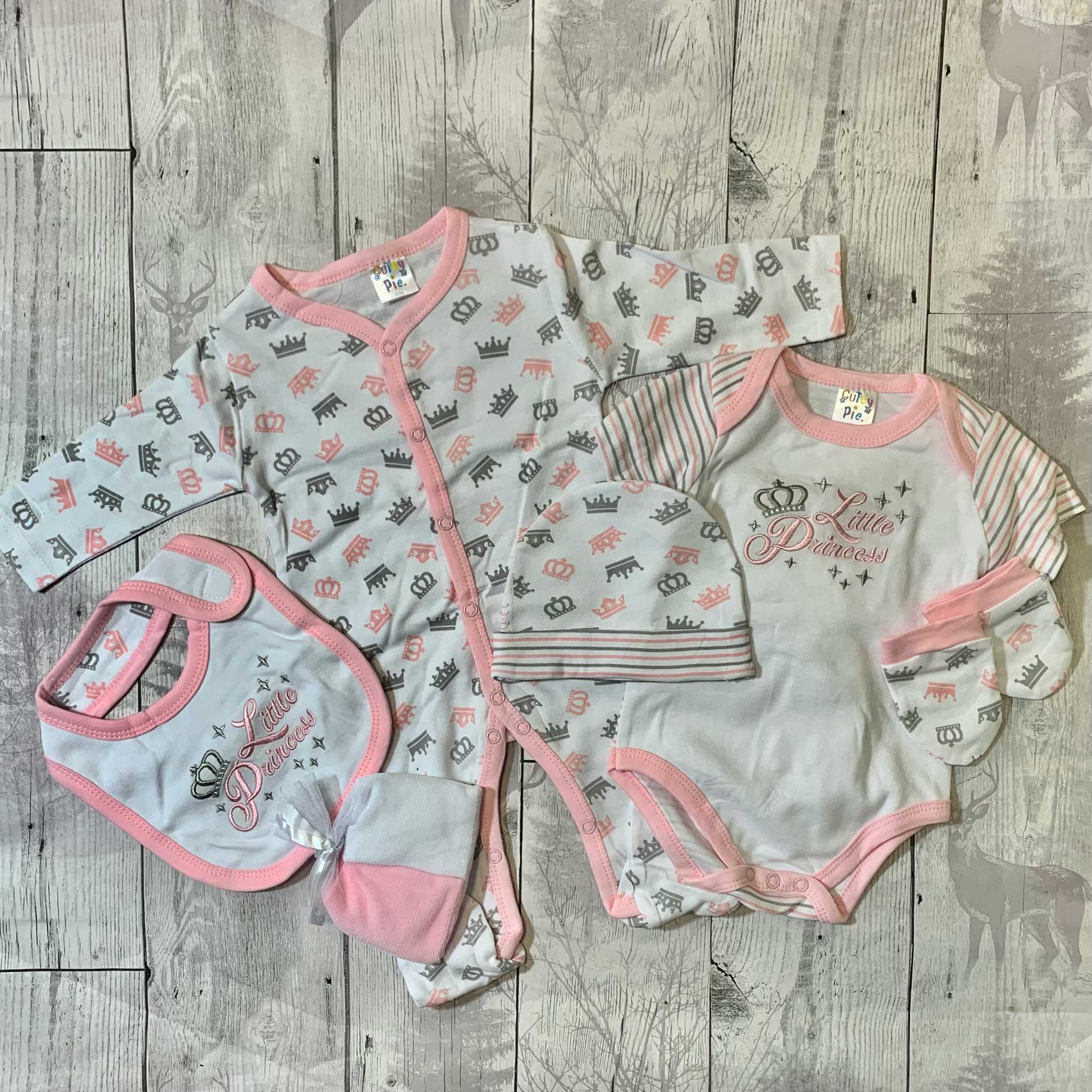 Baby Girls 7 Piece Gift Outfit Set, Sleepsuit, Vest, Hat Mitts and Bib