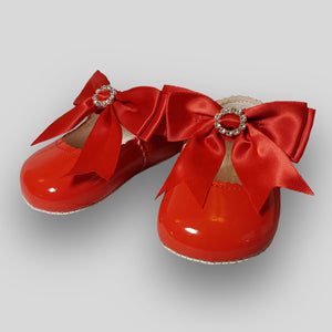Baby Girl Red Pram Shoes - Large Satin Bow with Diamante