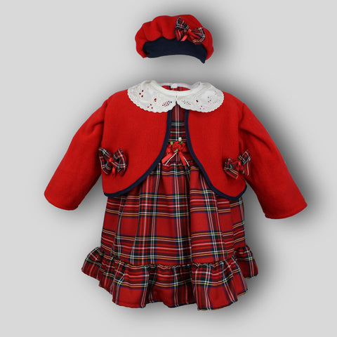 tartan baby dress with hat and jacket christmas outfit