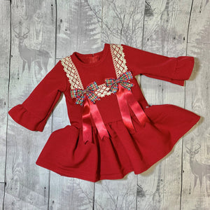 Girls Red Dress with Tartan Bows