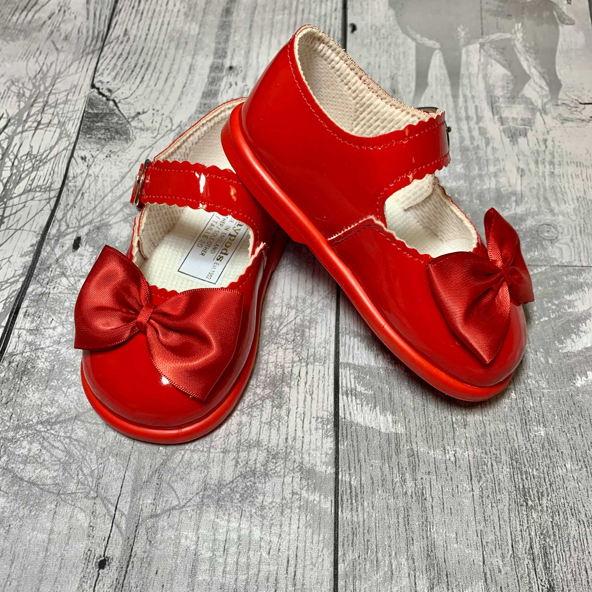 First Walker Shoes - Hard Sole Red with Bow