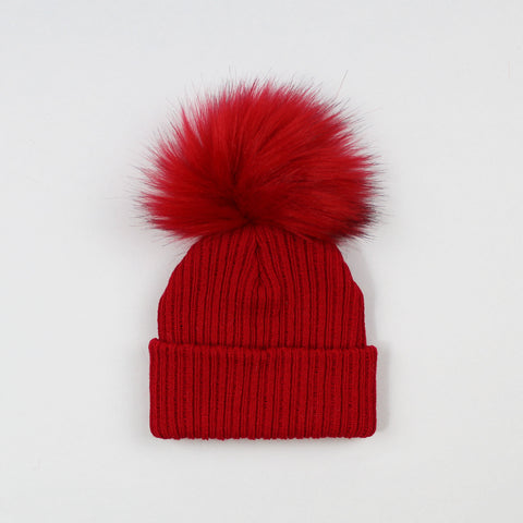 personalised red baby bobble hat