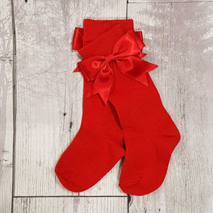 Baby Girl  Red Bow Socks - Knee High with Red Bow