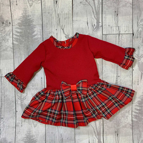 Baby Girls Red and Tartan Dress