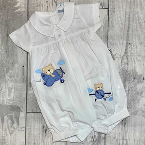 Baby Boys White Romper with Applique Bears