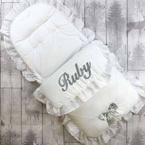 personalised white cosy toes / footmuff with grey bow