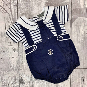Baby Boy Sailor Set Navy Blue Two Piece Shorts and T Shirt Outfit