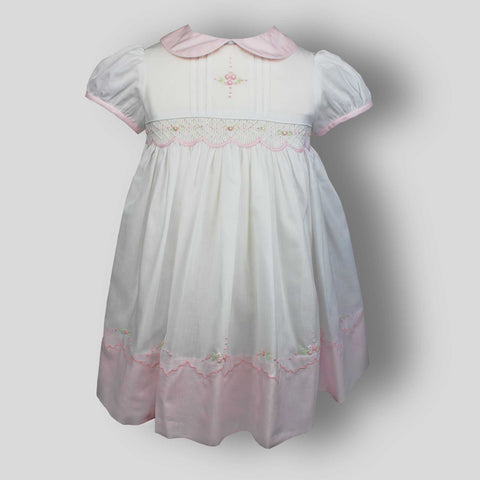 White / Pink Hand Smocked Classic Dress- Sarah Louise 012270