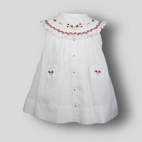 Baby Dress with Hand Embroidery White / Red- Sarah Louise 012218