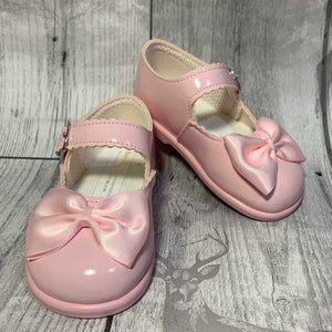 First Walker Shoes - Hard Sole Pink with Bow