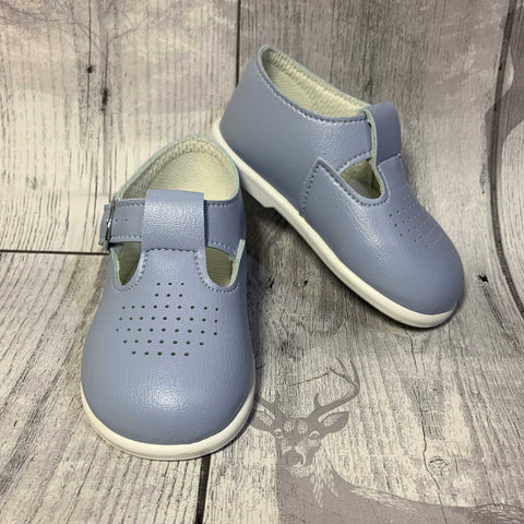 first walking shoes baby blue t bar