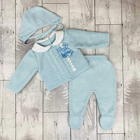 Knitted Baby Boy Outfit  - Blue  Top, Trousers and Hat