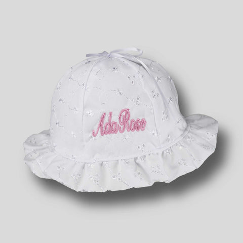 Personalised Baby Girl  Sun Hat - White