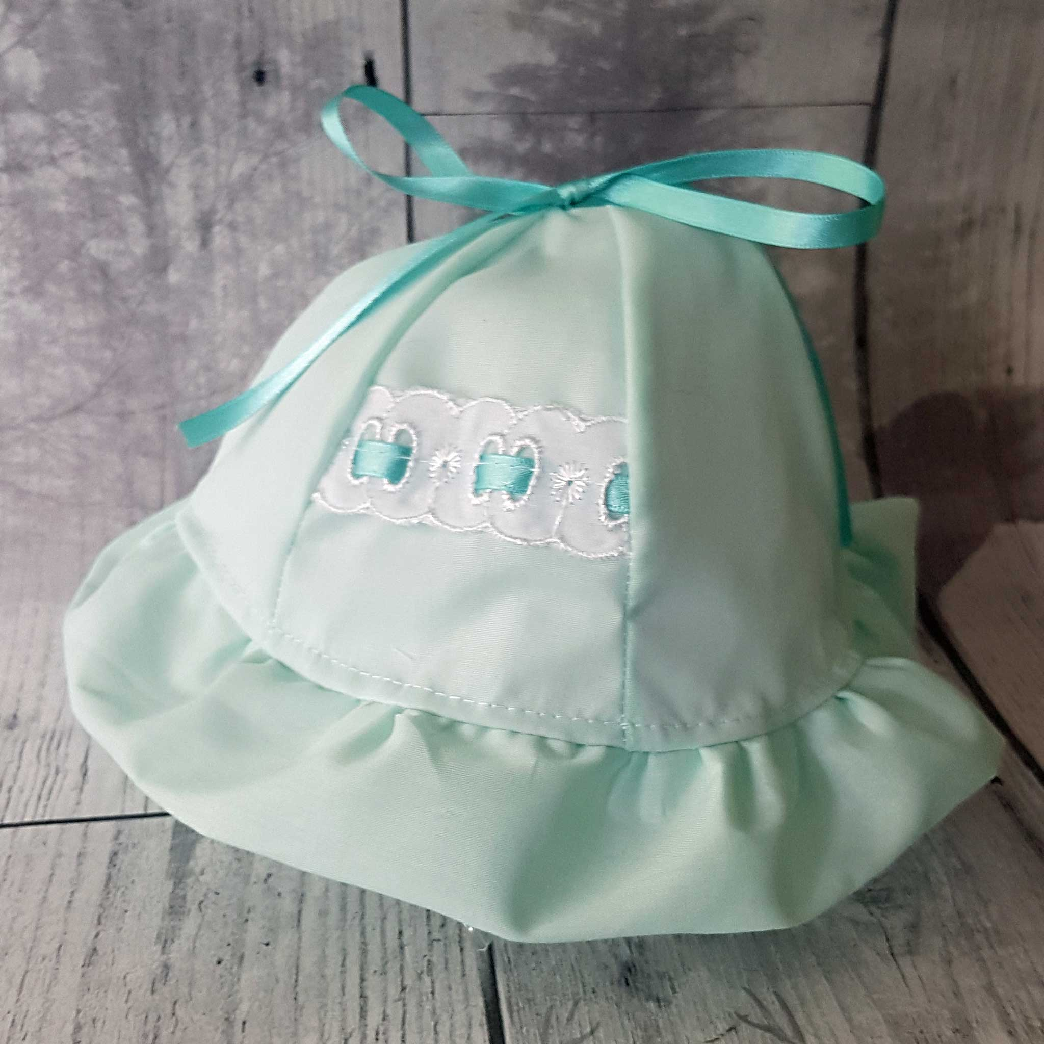 baby girl sun hat mint green