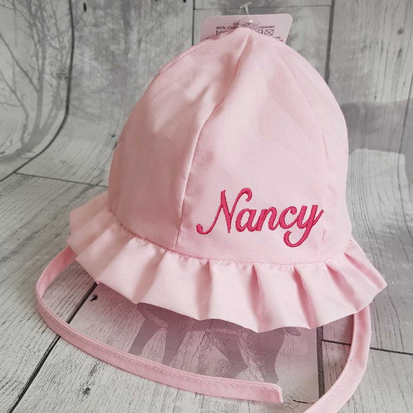 baby girl personalised sun hat summer