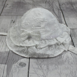 Baby Girls Sun Hat With Chin Strap- White
