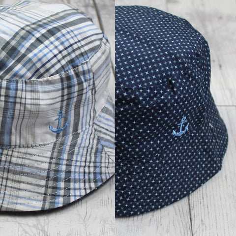 Baby Boys Reversible Bucket Hat  - Navy Blue to Check