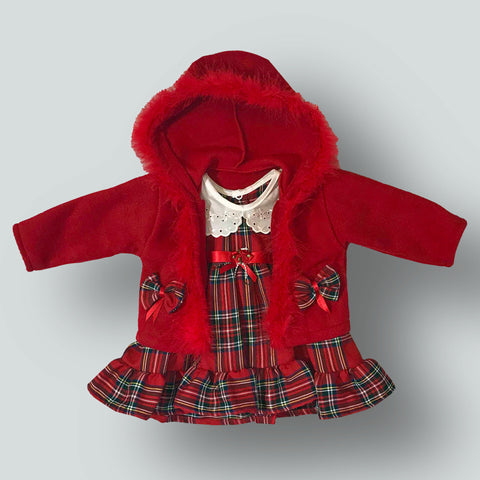 Baby Girls Red Tartan Dress and Jacket