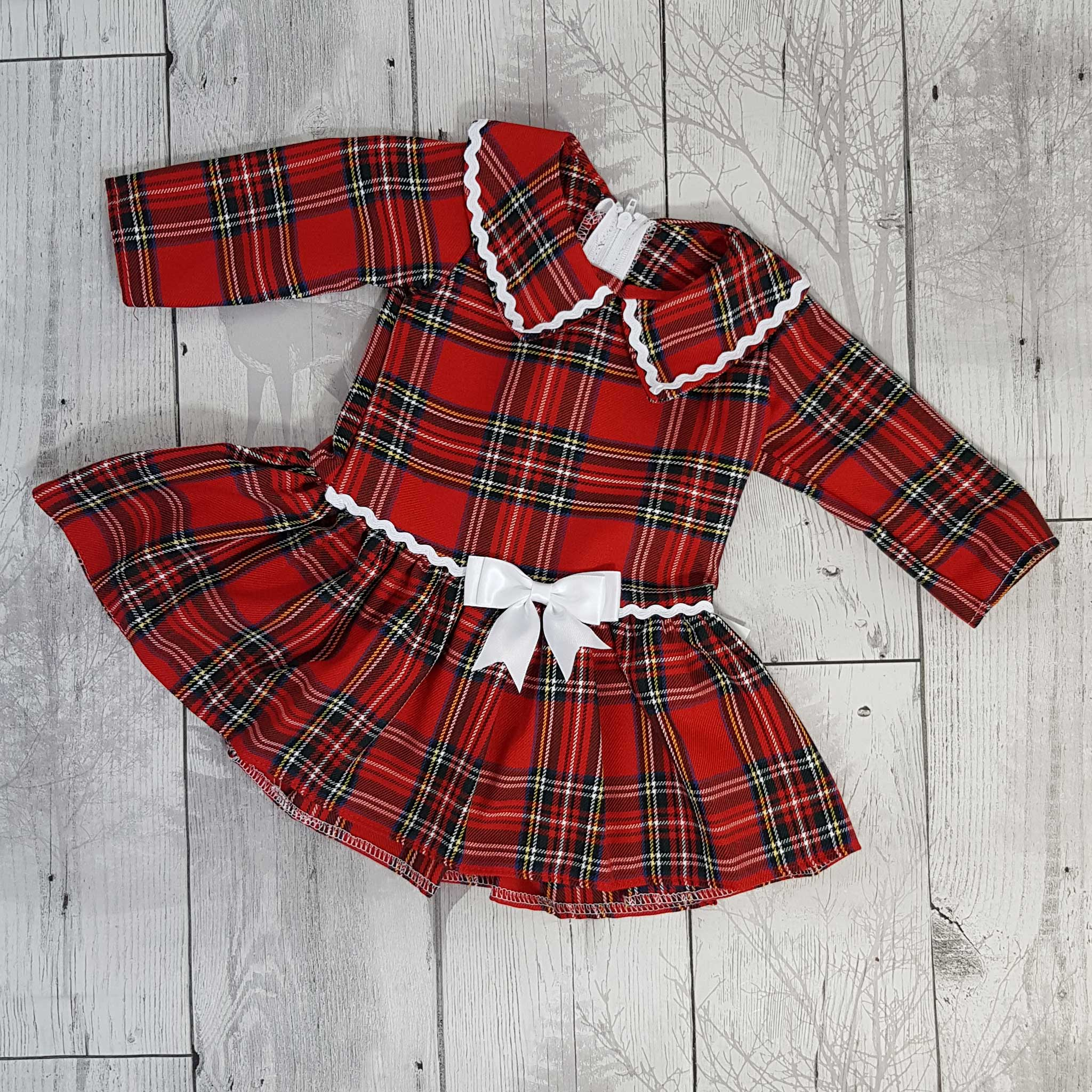 Red Tartan Dress with Long Sleeves