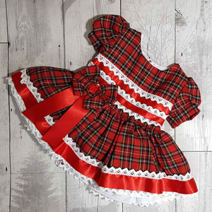 Baby Girls Red Tartan Frilly Dress
