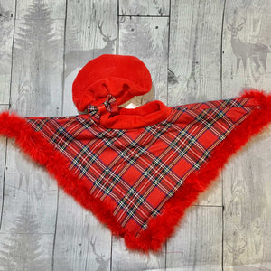 Red Tartan Cape and Hat with Maribu Feather Trim