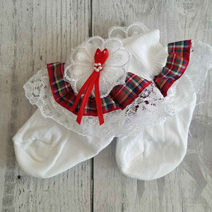 Tartan Baby Girl Fancy Frilly ankle socks.