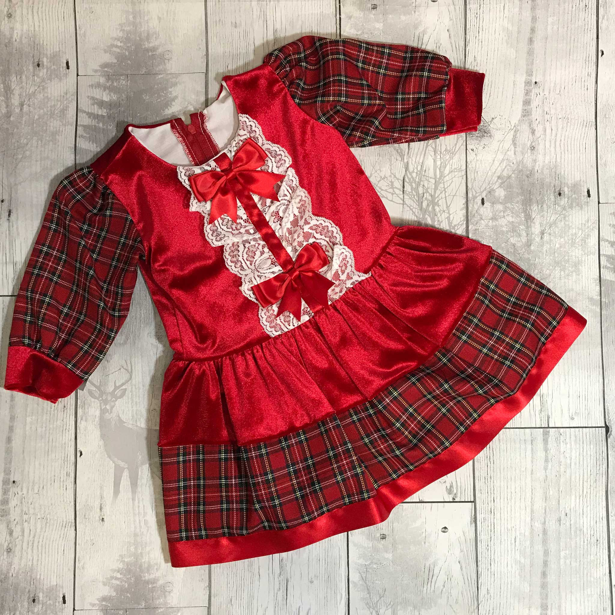 Baby Girls Red  Tartan Dress with Frills and Bows