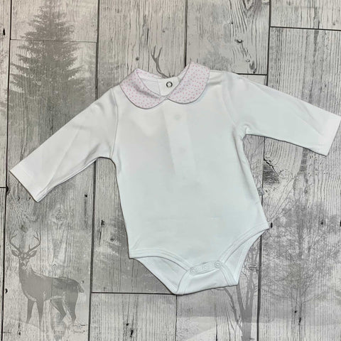 Baby Girl Vest - Pink Collar and Long Sleeves