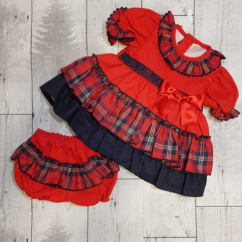 Baby Girls Tartan Puffball Dress, with Frilly Knickers  Outfit