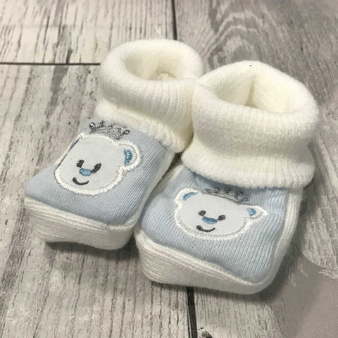 White Blue Booties - with embroidered bear - Newborn to 6 months