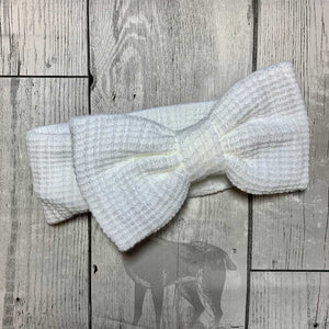 Headband / Ear Warmer with Large Bow - White