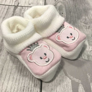 Girls Booties - with embroidered bear - Newborn to 6 months