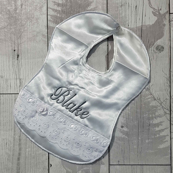 Personalised Baby Bib - Satin with lace and ribbon
